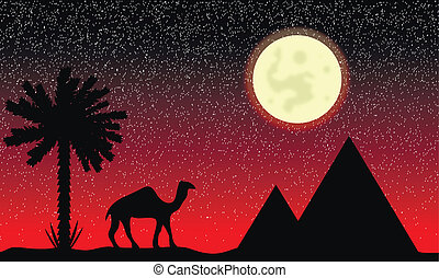 Night in Egypt with palms, pyramids and camel
