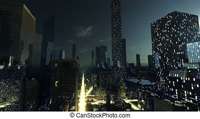 Night in modern city with glowing s