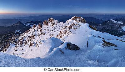 Night in mountain panorama landscape