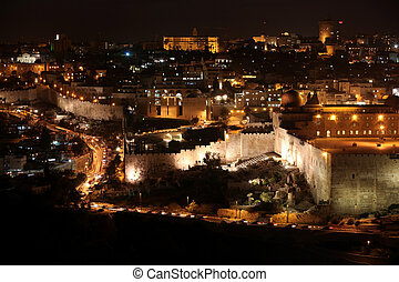 Night in old city Jerusalem, Temple Mount with Al-Aqsa Mosque, view from the Mount of Olives, Israel