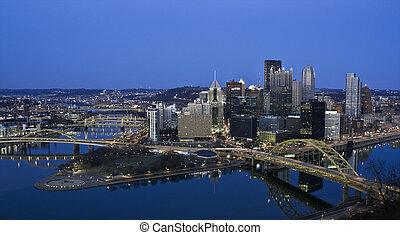 Night in Downtown Pittsburgh, Pennsylvania.