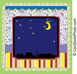 Night in the city background vector