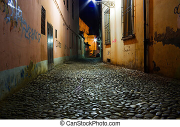 dirty alley - night in the old town,- dirty alley - grunge ...
