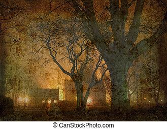 Night in the park retro