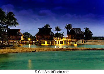 Night in tropics at the sea