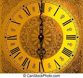 Night into Day - Antique grandfather clock face