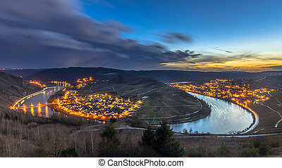 Night is falling over Mosel river valley