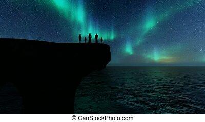 night., islamique, lumières, nord, arabe, silhouettes, vie famille, arrière-plan.