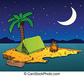 Night island on the sea