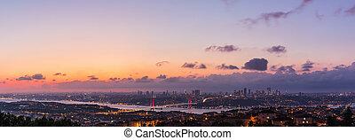 Night Istanbul panorama, view on the Bosphorus Bridge