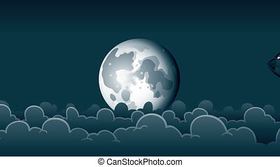 Night Jet - A cartoon passenger jet flies in front of the...