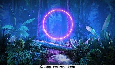 night jungle with glowing neon HD