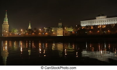night Kremlin Embankment  panorama