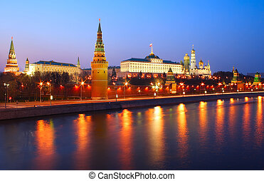 Night Kremlin - The Kremlin on the bank shot late in the ...
