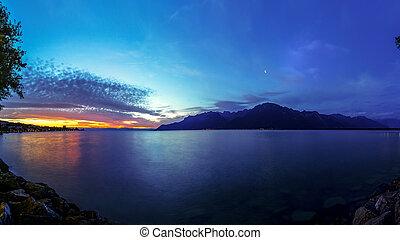 Night lake town