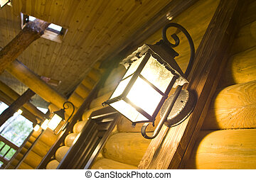 Night lamps on the wood wall