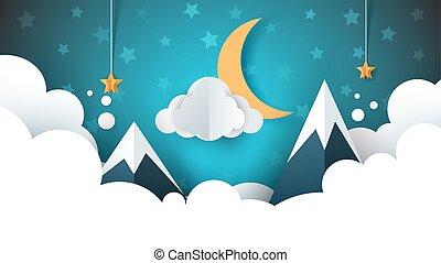 Night landscape - cartoon illustration. Cloud, mountain, moon, star.