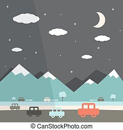 Night Landscape Flat Design Illustration