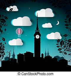 Night Landscape Illustration with City and Tower Silhouette and Paper Cut Vector Clouds and Hot Air Balloon