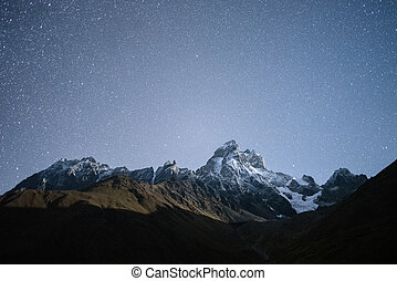 Night landscape in the mountains - Night landscape. Starry...
