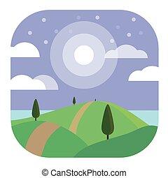 Night Landscape Modern Conceptual Design Illustration Vector