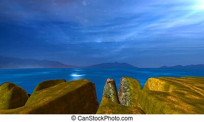 night landscape of blue sea, cliffs and moon crossing sky