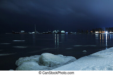 Night landscape of Lake Onega in winter time