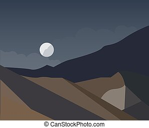 night landscape of mountains with moon