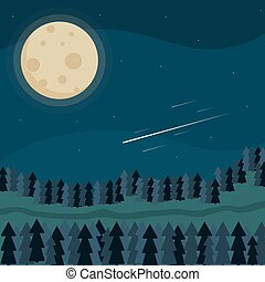 Night landscape of the forest. The moon, trees, stars, road. Vector image.