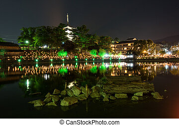 Night landscape of Tokyo above the river