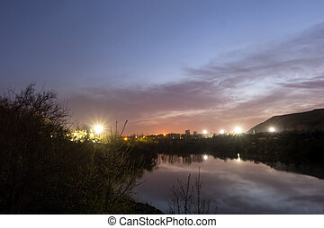 Night Landscape. Pond, sky, Lights. - Night landscape: Sky...