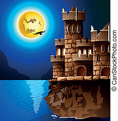 Night landscape. Rock, castle, moon and crows.