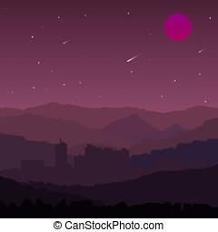 Night Landscape. Vector Illustration