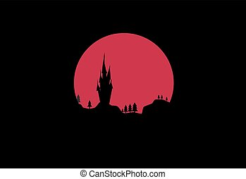 Night landscape with a castle on the background of the red moon