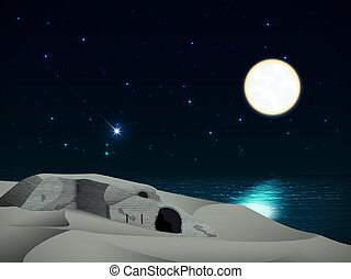 Night landscape with a ruined castle on the beach