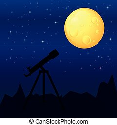 telescope - night landscape with a telescope in the...