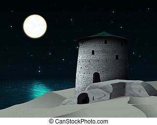 Night landscape with a tower by the sea