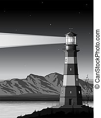 Night landscape with detailed lighthouse, mountains and sea