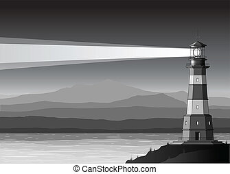 Night landscape with detailed lighthouse, mountains and sea...