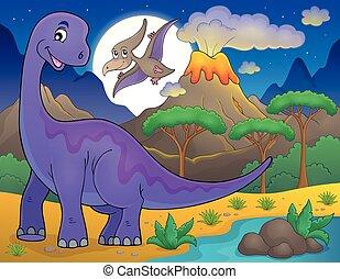 Night landscape with dinosaur