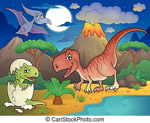 Night landscape with dinosaur