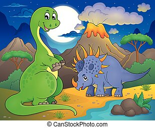 Night landscape with dinosaur theme 7