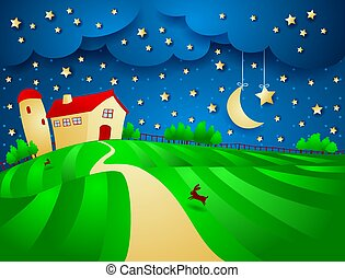 Night landscape with farm and starry sky, vector