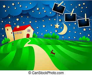 Night landscape with farm, starry sky and photo frames. Vector illustration eps10