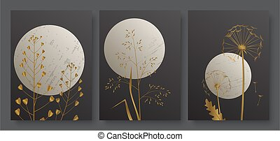 Night landscape with full moon and golden meadow grass, minimal luxury gold foliage