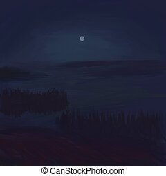 Night landscape with full moon and lake