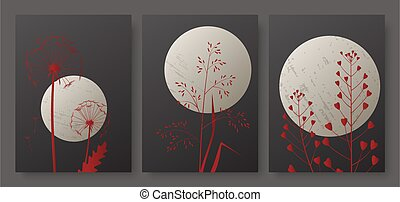 Night landscape with full moon and meadow grass, minimal luxury red foliage