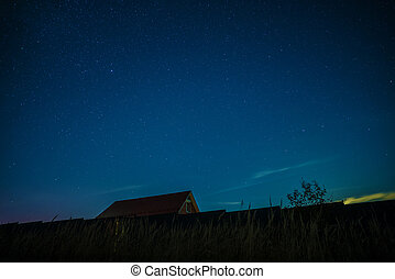 Night landscape with house under the starry sky