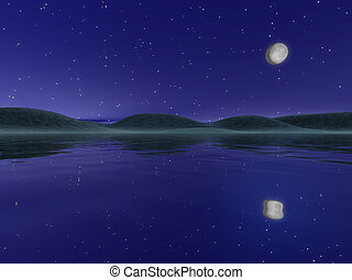 Night landscape with lake and hills