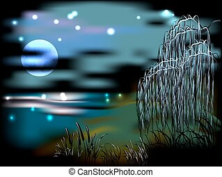 Night landscape with lake and reeds in the light of the moon